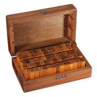 conjuntos de sellos de madera al por mayor-70pcs / set sellos de madera para scrapbooking Número de alfabeto Sello de madera Vintage Box DIY sellos