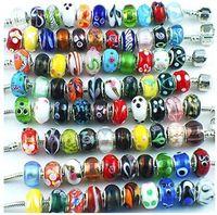 perles intercalaires mixtes européen achat en gros de-Perles de verre de Murano couleur argent ajustement espacer bracelet européen et fabrication de bijoux par 50pcs Mix