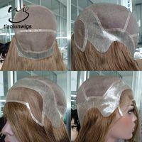 Wholesale women toupee for sale - Group buy 150 density color brazilian virgin hair full head toupee for women mono base women wigs with PU around