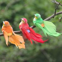 ingrosso rami degli uccelli-Simulazione di piume Uccello Manuale Schiuma di colore Artigianato artificiale Uccelli Canarino Giardinaggio Ramo di albero Decorazione di compleanno Decorazione di cerimonia nuziale 2l gg