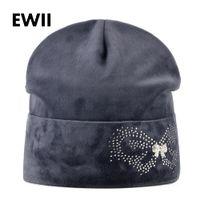 Wholesale Velvet Hats Ladies - Women antumn winter velvet hat ladies butterfly beanie caps women rhinestone beanies cap skullies girls casual hat bone