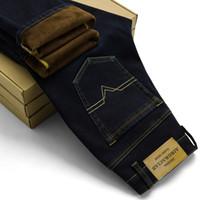 Wholesale mens fleece jeans - Mens Winter Stretch Thicken Jeans Warm Fleece High Quality Denim Biker Jean Pants Trousers Size 28 -42
