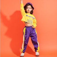 ingrosso abiti gialli per bambini-Kid Yellow Sweatshirt Camicia Jogger Pantaloni Hip Hop Abiti Tute Jazz Stage Dance Costume Girls Boys Ballroom Dancing wear Outfit