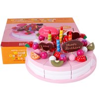 Wholesale Wooden Toys Cake - Mother garden baby kid's playhouse strawberry double layers artificial cake set wooden child toy