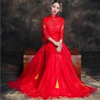 Wholesale lace qipao wedding dress resale online - Chinese Lace Wedding cheongsam Qipao Red Sexy Cheongsam Modern Chinese Traditional Wedding Dress Women Vestido Oriental Collars