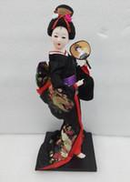 boneca vermelha japonesa venda por atacado-Collectibles Oriental Japonês Brocado Boneca de Gueixa Kabuki Boneca Figura Estatueta Bonita 3 Cores Preto Vermelho Azul