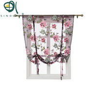 Wholesale panel 42 online - Kitchen Short Sheer Burnout Roman Blinds Curtains Peony Sheer Panel Tulle Window Treatment Door Curtain Home Decor Rideaux