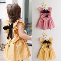 Wholesale Metallic Costume Dress - Baby Girls Infant Toddler Bowknot Sleeveless Ruffled Vest Dress Sundress Casual Solid Color Dresses Children Clothing Girls Party Costume
