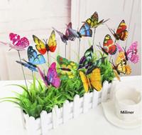 estacas de patio al por mayor-10 Unids / lote Mariposa Artificial Jardín Decoraciones Simulación Mariposa Estacas Jardín Patio Decoración de Césped Fake Butterefly Color Al Azar