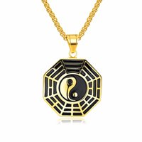 Wholesale gold chinese pendant resale online - Classic Chinese Mystical Yin Yang Pendant Necklace Stainless Steel Necklaces Bagua Pendant For Men Necklace Jewelry
