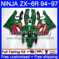 обтекатель zx6r 95 красный оптовых-Кузов для Kawasaki NINJA ZX 636 600CC ZX6R 94 95 96 97 213HM.7 Zx600 красное пламя зеленый ZX636 ZX 6R 94 97 ZX-6R 1994 1995 1996 1997 обтекатели