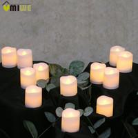 sarı led mumlar toptan satış-12 adet Alevsiz Led Mum Titreşimsiz Işık Lamba Dekorasyon Elektrikli Pil-Güçlenmiş Mumlar Sarı Çay Işık Parti Düğün Mum