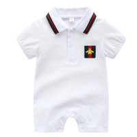 Wholesale unisex baby clothes online - Fashion Black Cotton Baby Rompers Summer Style Baby Boy Girl Clothing Newborn Infant Sleeve Short Clothes