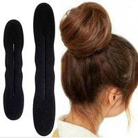 Wholesale Sponge Bun Maker - Hot Sale New Fashion 2x Hair Styling Magic Sponge Clip Foam Bun Curler Hairstyle Twist Maker Tool Accessories