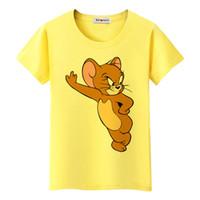 ratón kawaii al por mayor-Camiseta Estrella de la película Jerry Mouse Kawaii Camiseta Summer Lovely Cute T-Shirt Mujeres Venta barata Brand New Cartoon Tshirt Mujer
