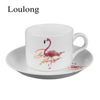 Wholesale Bones Work - Bone China Ceramics Nordic Flamingo Flamingo Coffee Mugs Suit Concise Household Work Office Teacup Cup Dish Saucer Spoon Sets