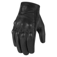 Wholesale green moto gloves resale online - Gloves Retro Pursuit Perforated Real Leather Motorcycle Gloves Moto windproof warm Gloves Motorcycle Protective Gears Motocross S1025