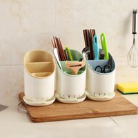 Wholesale bamboo floor kitchen - Kitchen Accessories Leachate Chopsticks Rack Holder Color Plastic Portable Double Deck Chopstick Organizer Strong And Durable 4 2xn Ww