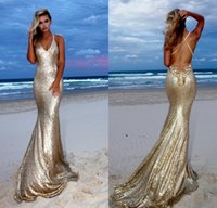 Wholesale halter mermaid dress bling - Bling Sequins Champagne Mermaid Prom Dresses 2018 Halter Beaded Appliques Criss Cross Back Evening Gowns Backless Pageant Dress Formal