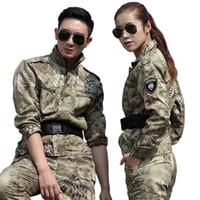 traje de combate táctico al por mayor-Ropa de caza para hombre Yellow Python Traje de camuflaje Ejército Tactical Chaquetas + Pantalones Uniformes Multicam Combat Ghillie Trajes