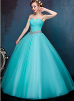 Wholesale empire ice - Beaded Tulle Ball Gown Prom Dresses Ice Blue Long Prom Gowns Lace Up Party Dresses Elegant