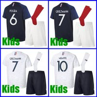Wholesale boy blue - Thailand GRIEZMANN MBAPPE Kids France soccer jerseys world cup 2018 POGBA UMTITI LACAZETTE GIROUD MATUIDI football kits soccer uniform