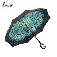 Wholesale lighting c stand resale online - Self Standing Inside Out Rain Protection Umbrella Windproof Uv protection Reverse Double Layer Inverted Umbrella C shaped Hands