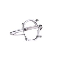 anillo oval de cabujón al por mayor-Anillo de Compromiso de Plata esterlina 925 Mujeres 10x14 10x15mm Oval Cabochon Semi Anillo de Montaje Joyería Fina Turquesa Ajustable