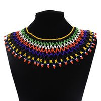 déclaration de colliers européens achat en gros de-European Boho Multicolore Perles Large Déclaration Collier pour les Femmes Résine Perlée Maxi Col Collier Ras Du Cou Bijoux Ethniques Bohème Bijoux