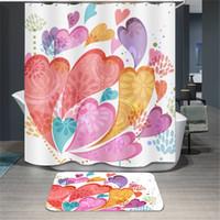 ingrosso tende all'orso-Tenda di doccia stampata fumetto tende 180 * 180cm poliestere bagno Fiore ragazza orso modello bagno tenda impermeabile
