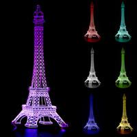 ingrosso 3d torre eiffel led-Eiffel Tower Design 3D Illusion lampada LED Night Light Illuminazione domestica 7 Colori regalo Decorazione natalizia # T56