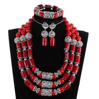 joyas de coral rojo indio al por mayor-Chunky Wine Red African Coral Beads joyería nupcial conjunto de plata joyería de la boda india para mujer regalo de la joyería del traje CNR860