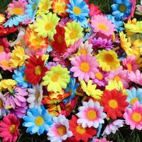gerbera sonnenblume großhandel-100 stücke Künstliche Gerbera Daisy Blumen Heads Silk Blume Köpfe Wenig Sonnenblume DIY Kuchen / Hochzeit Dekoration Künstliche Blumen Handwerk 0214