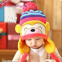 ingrosso modello beanie per bambini-Cartoon Monkey Pattern Cute Kids Baby Crochet Beanie Cuffia paraorecchie