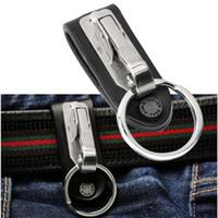 taillengürtel keychain großhandel-1 PC Ausgezeichnete Qualität Leder Edelstahl Abnehmbare Schlüsselbund Gürtelclip Anti-verlorene Buckle Hanging Key Ring Halter