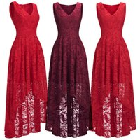 Wholesale womens short party prom dresses for sale - Group buy Red Burgundy High Low Designer Womens Cocktail Party Dresses Lace Designer Occasion Wear V Neck Sleeveless Formal Evening Gown CPS1149