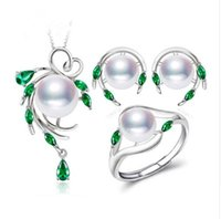 Wholesale imitation pearl jewelry sets online - New Sterling Silver natural pearl jewelry sets for women Emerald stud earrings pendant necklace engagement ring set