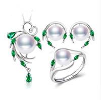 conjunto esmeralda natural prata venda por atacado-Nova 925 Sterling Silver natural pérola conjuntos de jóias para as mulheres, brincos do parafuso prisioneiro Esmeralda, pingente de colar anel de noivado conjunto