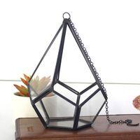 farn pflanzen großhandel-16 * 23 cm Miniatur Glasterrarium Geometrische Diamant Desktop Garten Tabletop Sukkulenten Fern Moos Pflanze Bonsai Blumentopf WX9-679