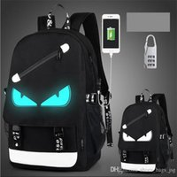 Wholesale Black Computer Bag - fashion USB Charge Luminous backpack men studends bags 9 color travel bag Computer backpack Large capacity shoulder bag send anti-theft lock