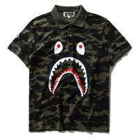 Wholesale Stand Collar Shirts Men - New Men's Tide Brand Shark Camo T-shirt Men Women Wear Lapel Cotton Short Sleeved T-shirts Free Shipping