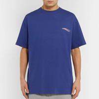 tasarımcı erkek gömlekleri yazdır toptan satış-18SS Erkek Kadın Yaz Sokak T Gömlek Moda Avrupa Amerika Tasarımcı Logo Baskı Kısa Kollu Nefes Rahat Düz Renk Tee HFYMTX185