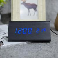Wholesale mini clock temperature - Digital LED Alarm Clock Modern Wooden Thermometer Desktop Clocks Sound Control Mini LED Table light with Temperature Electronic Home Decor
