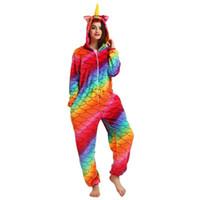 ingrosso pigiama unicorno-Animal Pajamas Novità Mermaid Unicorn Nightwear Cosplay Costumi Halloween