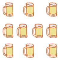 Wholesale Cheap Beer Wholesalers - 10PCS Glass of Beer Patches Stripe Sewing Stitchwork Clothing for jacket Cheap Glue Embroidery Patches for Garments Stickers DIY Patch Craft