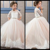 Wholesale Girl Princess Dress Up - Princess Ball Gown First Communion Dresses with 3 4 Long Sleeve Sheer Jewel Neck Lace Beads Cheap Birthday Party Gowns For Little Girl