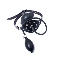 Wholesale Leather Gagged - funny Hot game lingerie Fetish Fantasy Series Inflatable Ball Gag Mouth Leather Harness Bondage free shipping