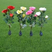 ingrosso luci piante artificiali esterne-Solar powered fiore rosa ha condotto la lampada esterna 3 fiori artificiali piante notte luce partito matrimonio giardino percorso modo decorazione