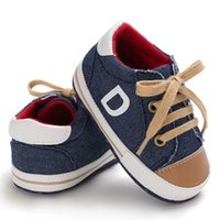девочка твердым дном обувь оптовых-Autumn Newborn baby canvas shoes infant toddler Boy Girl Crib shoes Lace Up Loafer Prewalker sport sneakers hard bottom