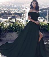kapalı omuz gece elbiseleri toptan satış-2018 Yeni Seksi Siyah Bir Çizgi Kapalı Omuz Abiye Yan Bölünmüş Balo Elbise Saten Uzun Vestido Özel Durum Abiye giyim Arapça